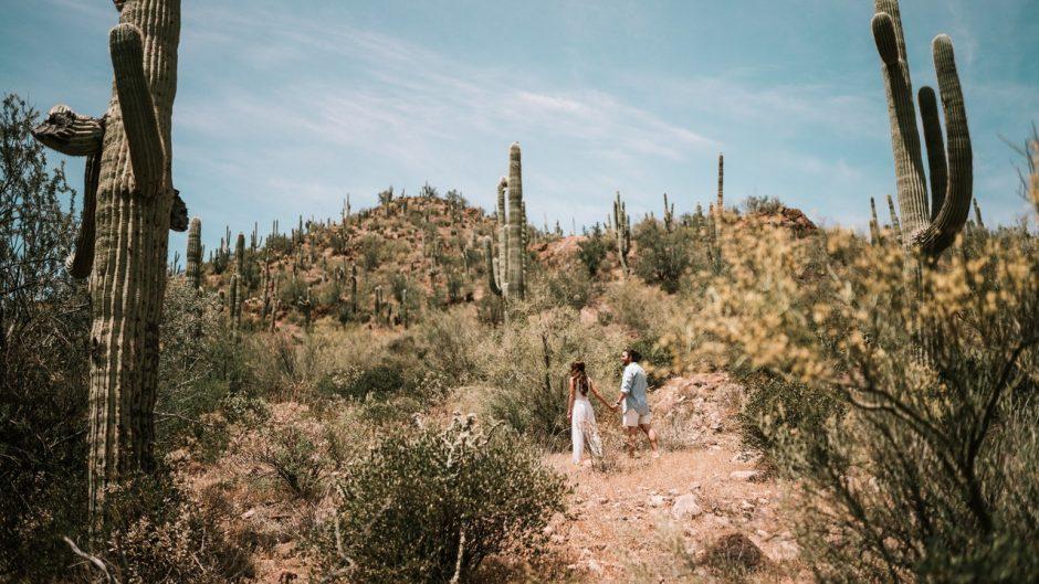 People walking in the Arizona desert