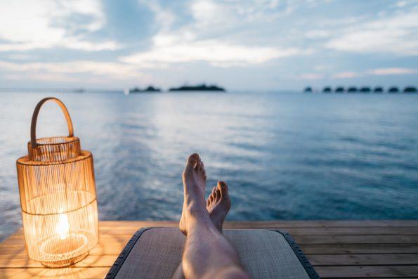 Man resting on the beach resort